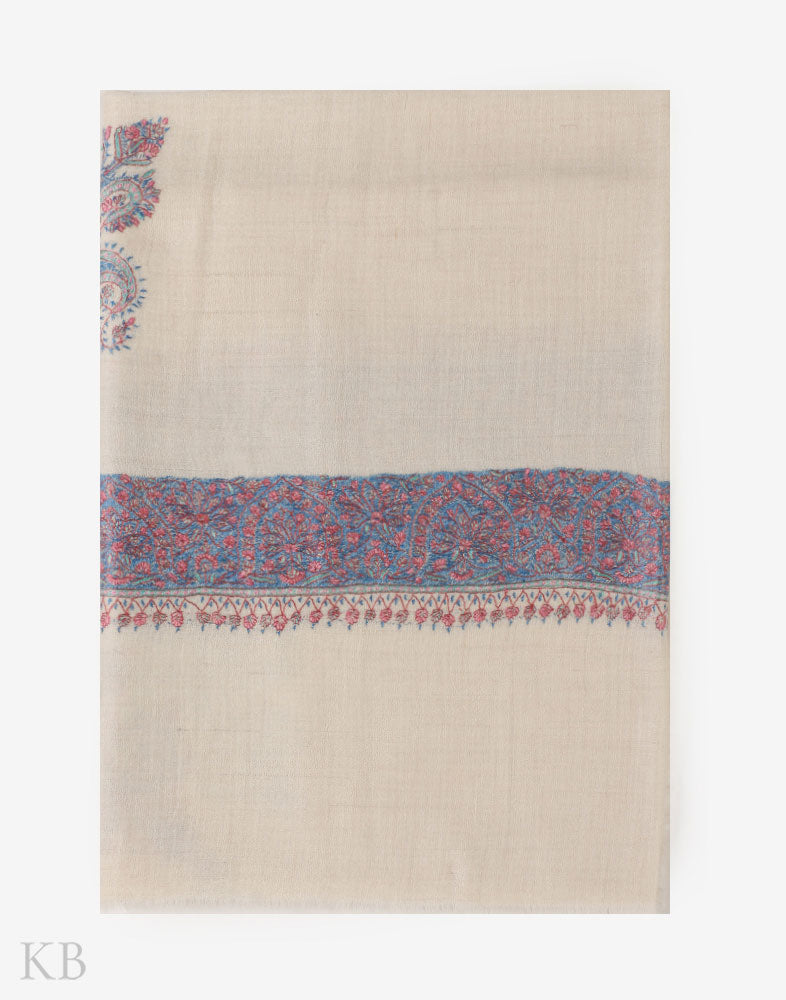 Hand Embroidered White Pashmina Mussar - Kashmir Box