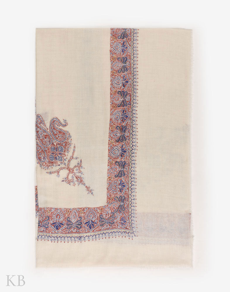 Creme White Sozni Embroidered Pashmina Mussar - Kashmir Box