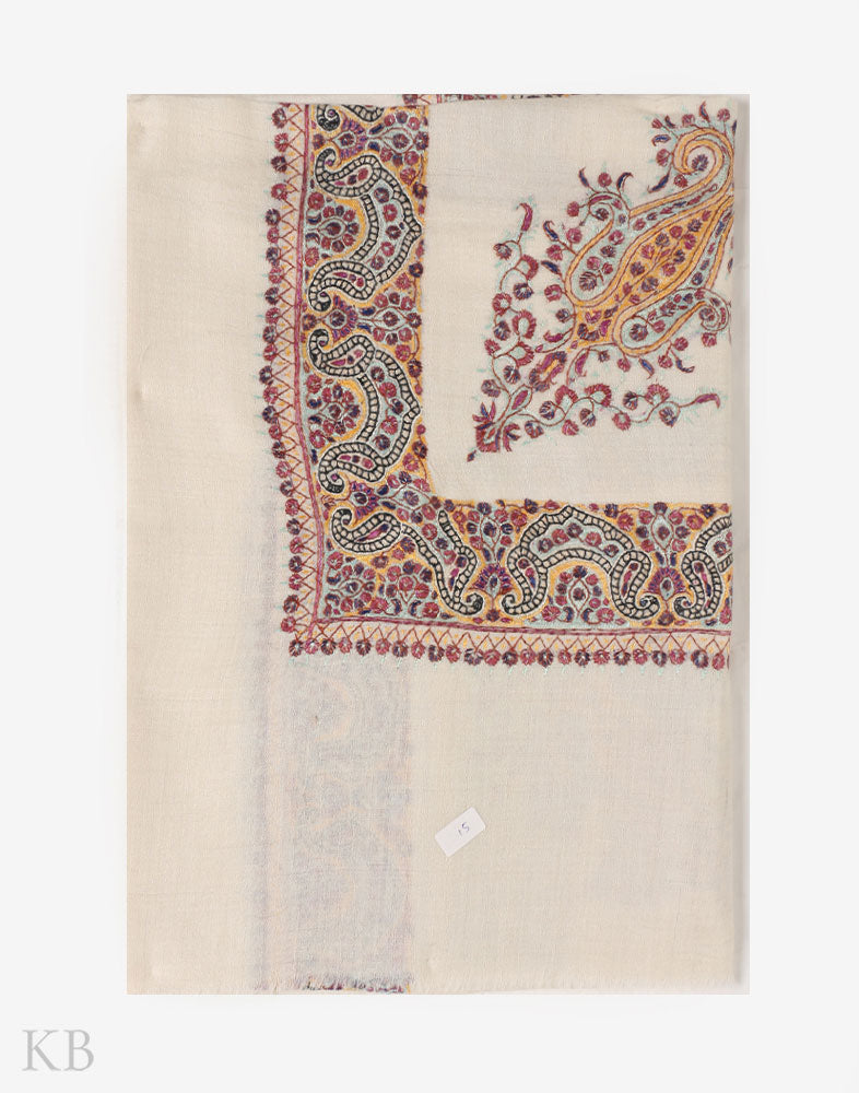 A Flower Shop Hand Embroidered Pashmina Mussar - Kashmir Box