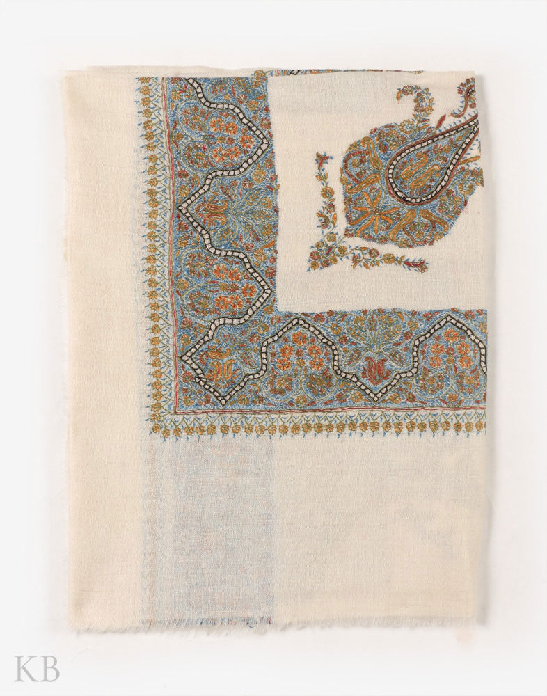 Cream Hand Embroidered Pashmina Mussar - Kashmir Box
