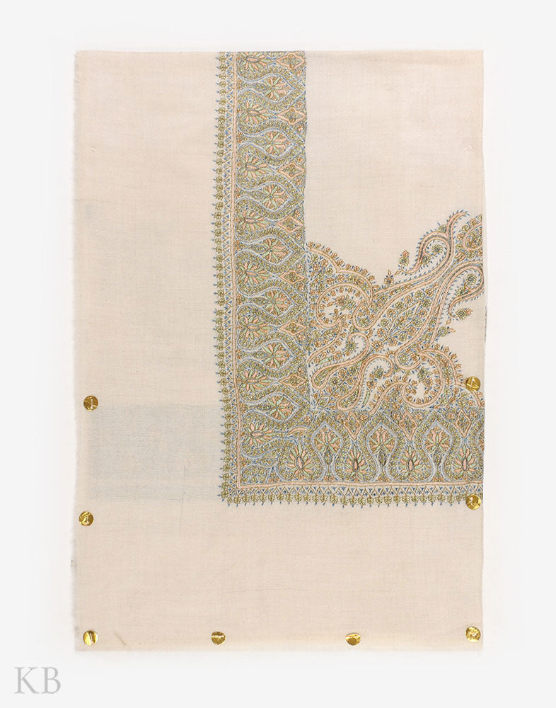 White Green Hand Embroidered Pashmina Mussar - Kashmir Box