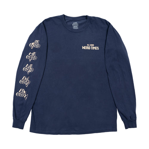ALLGOOD WEIRD TIMES LONGSLEEVE SHIRT - NAVY