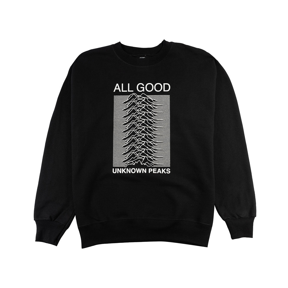 ALL GOOD UNKNOWN PEAKS CREWNECKS BLACK