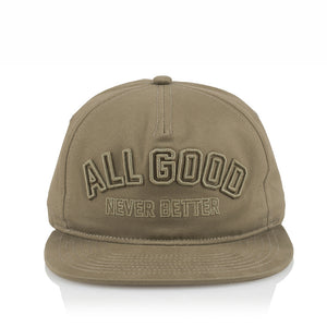 ALL GOOD RAISED AGNB SNAPBACK - KHAKI 。