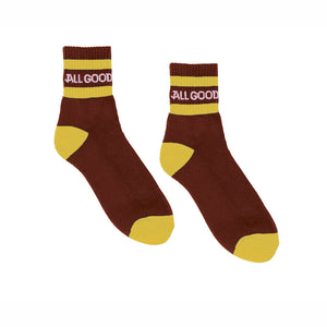 ALL GOOD BURG TELLOW SOCKS - BURGANDY/YELLOW