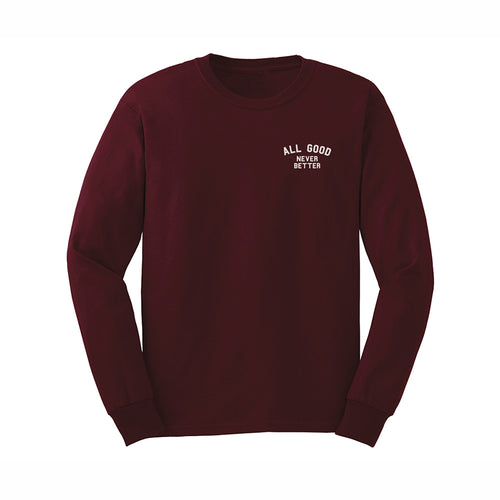 ALL GOOD AGNB LONGSLEEVE BURG - BURGANDY