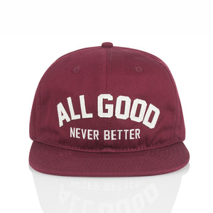 ALL GOOD AGNB SNAPBACK - BURGANDY