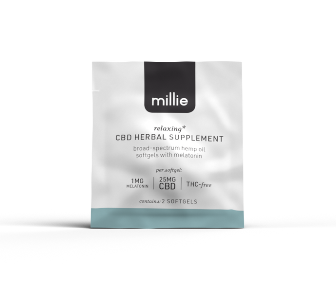 millie CBD Herbal Supplement with Melatonin 2-Pack cbd for sleep