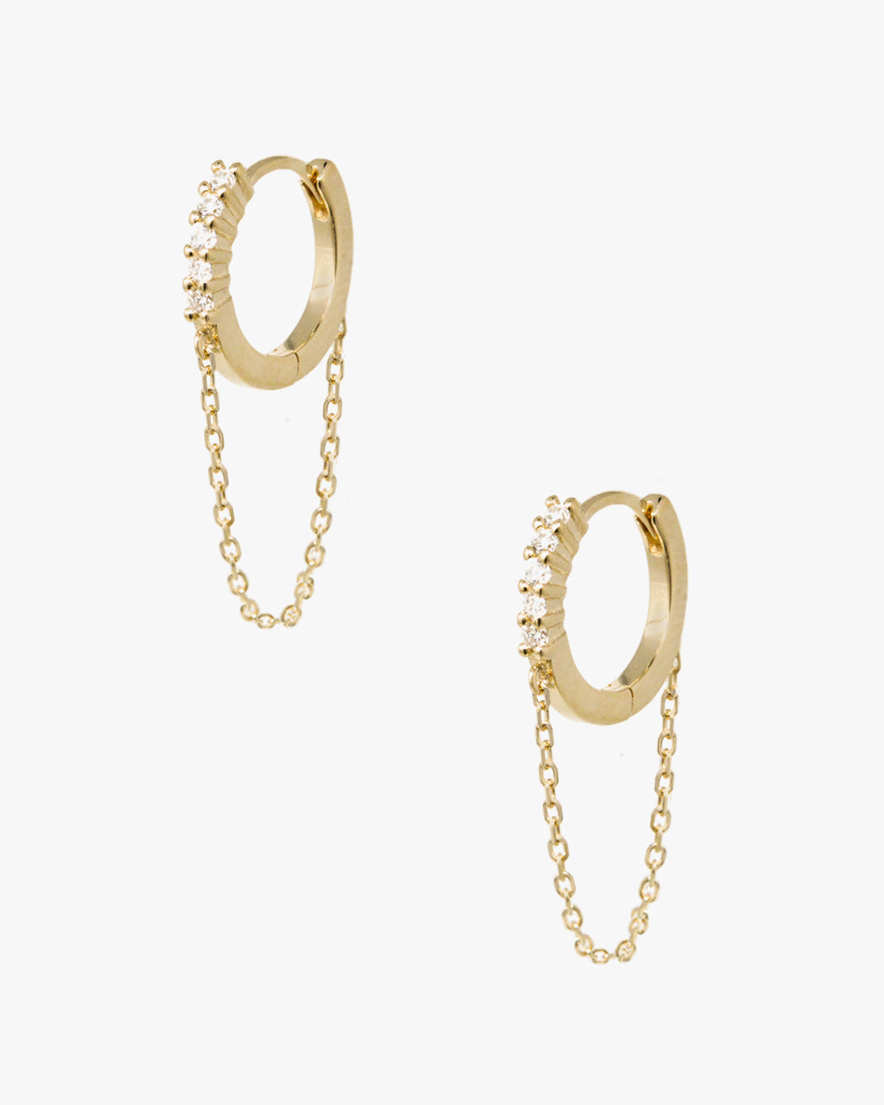 CANYON DIAMOND DROP CHAIN HOOPS