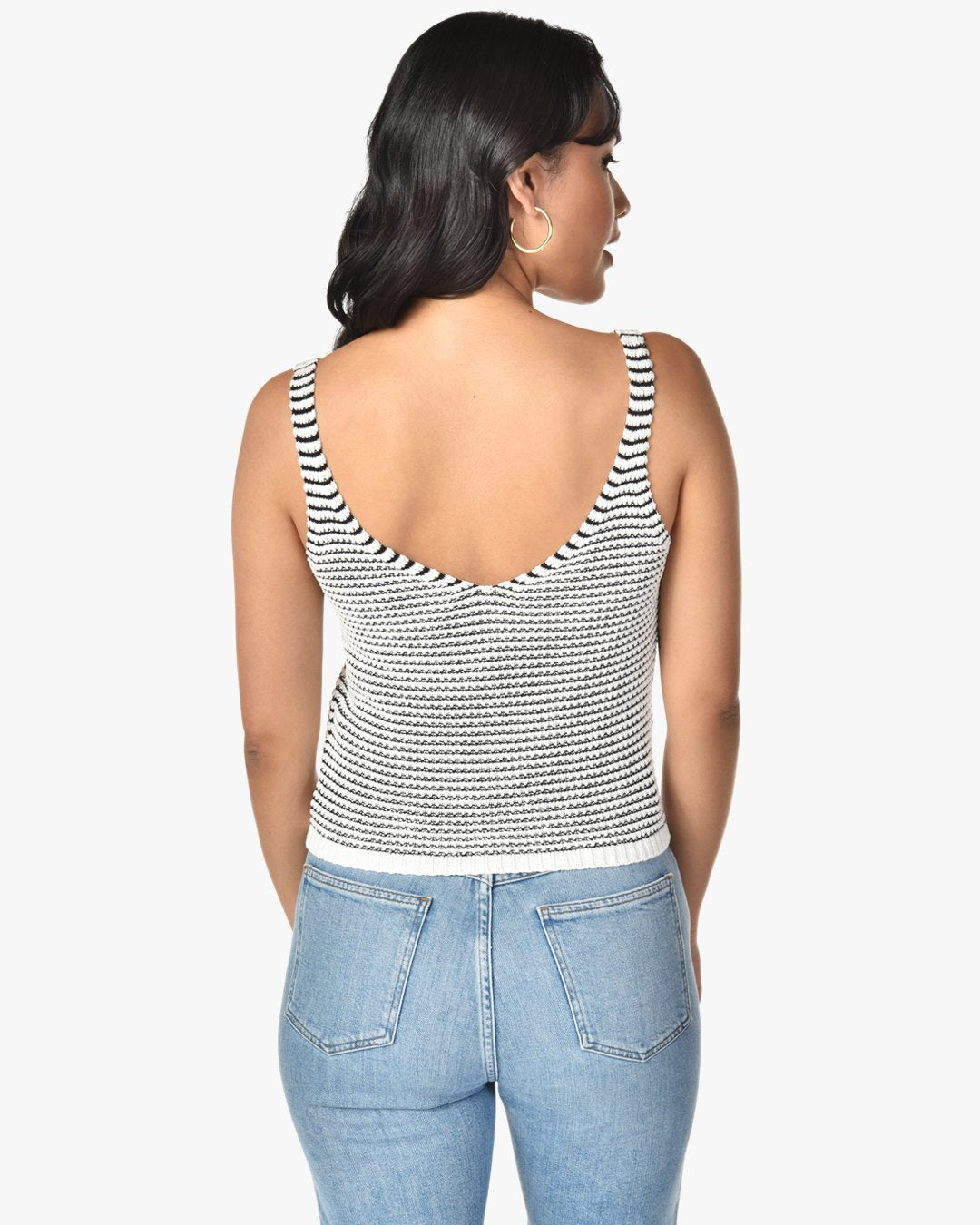 striped cotton knit tank top