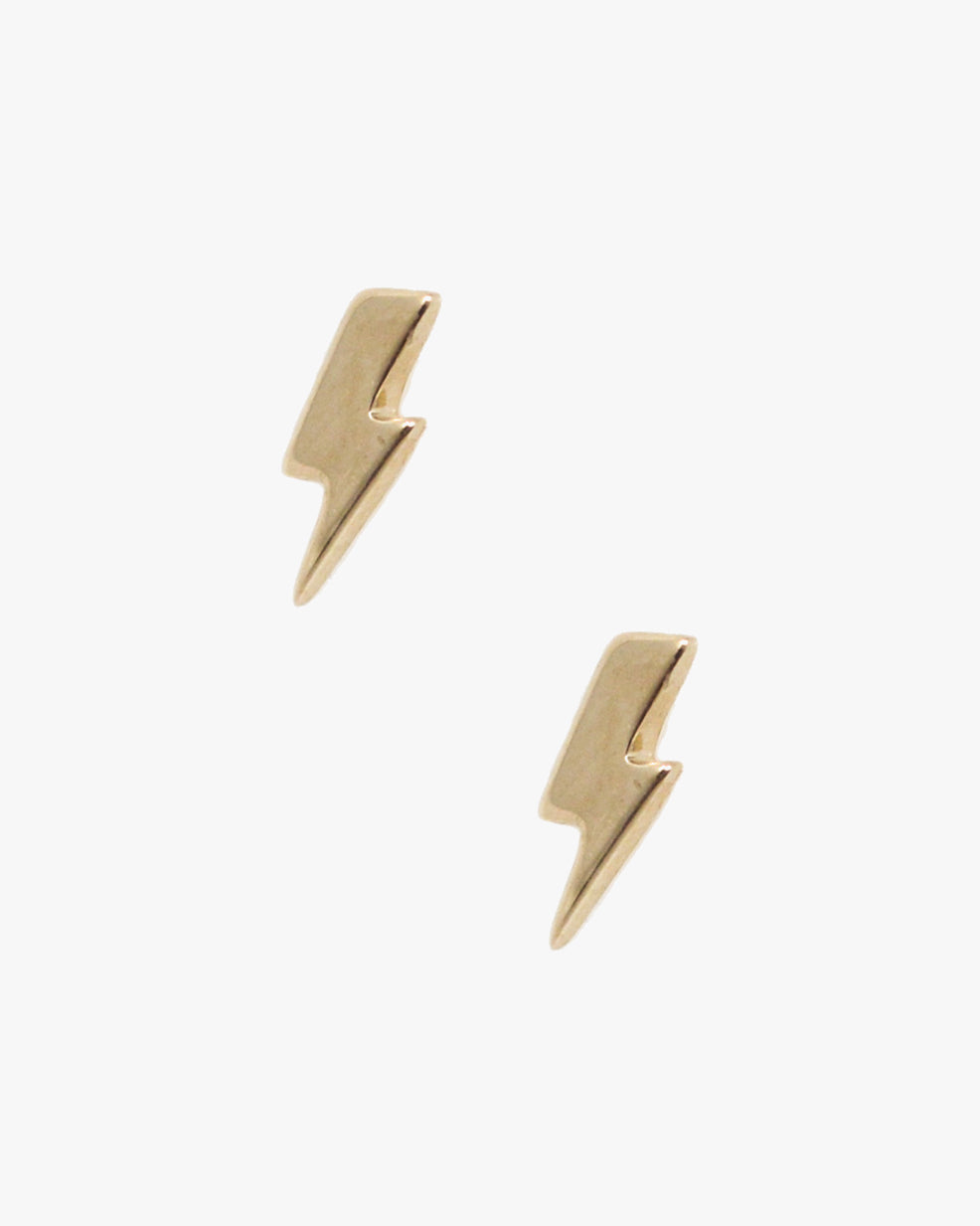 14k gold lightning bolt stud earring
