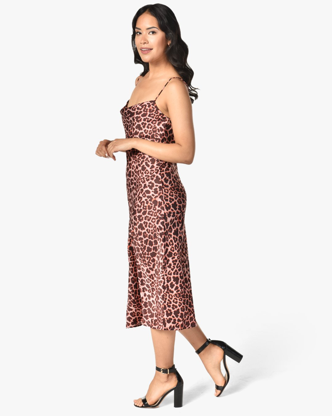 pink leopard slip dress