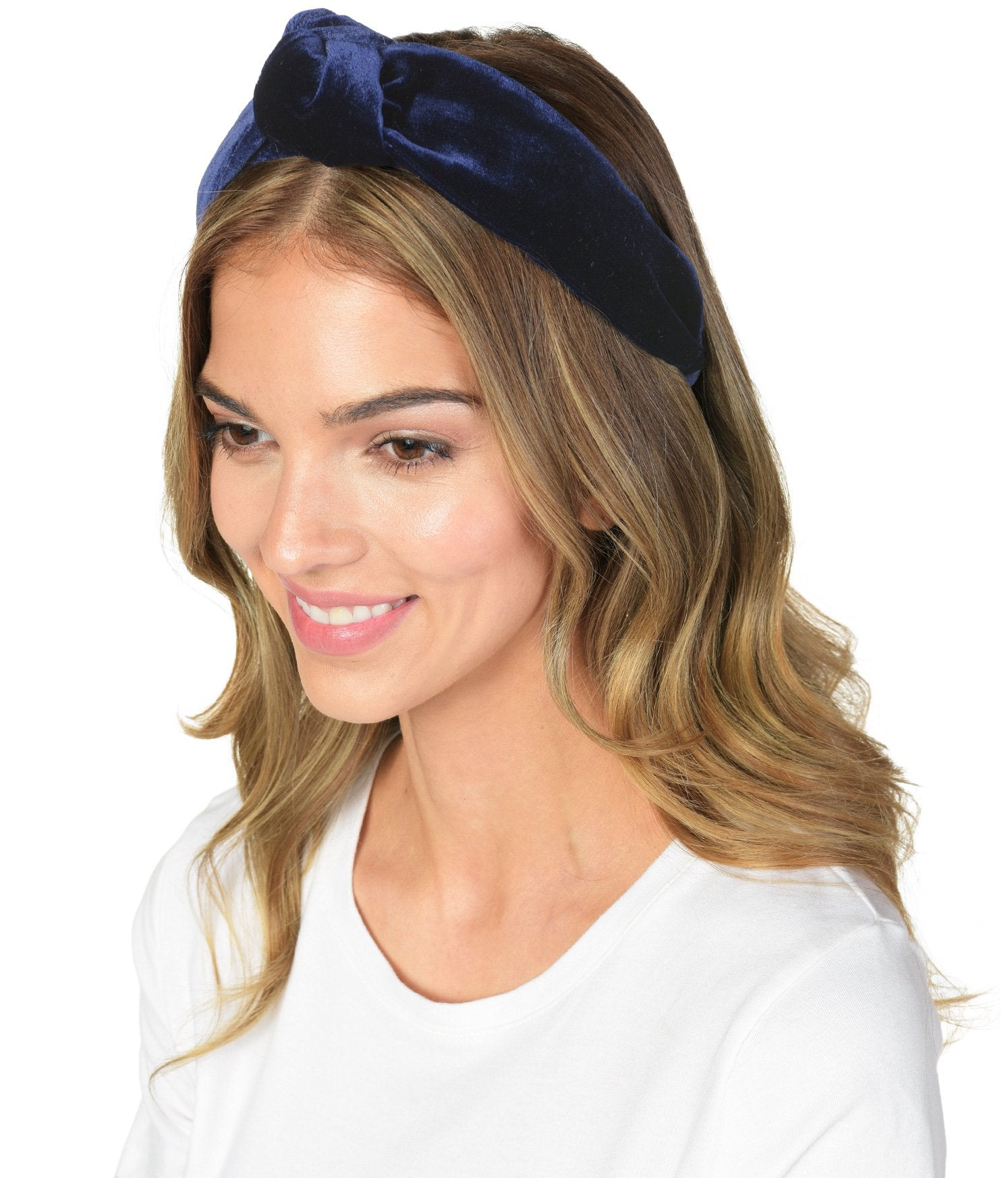 NAVY INK VELVET KNOT HEADBAND