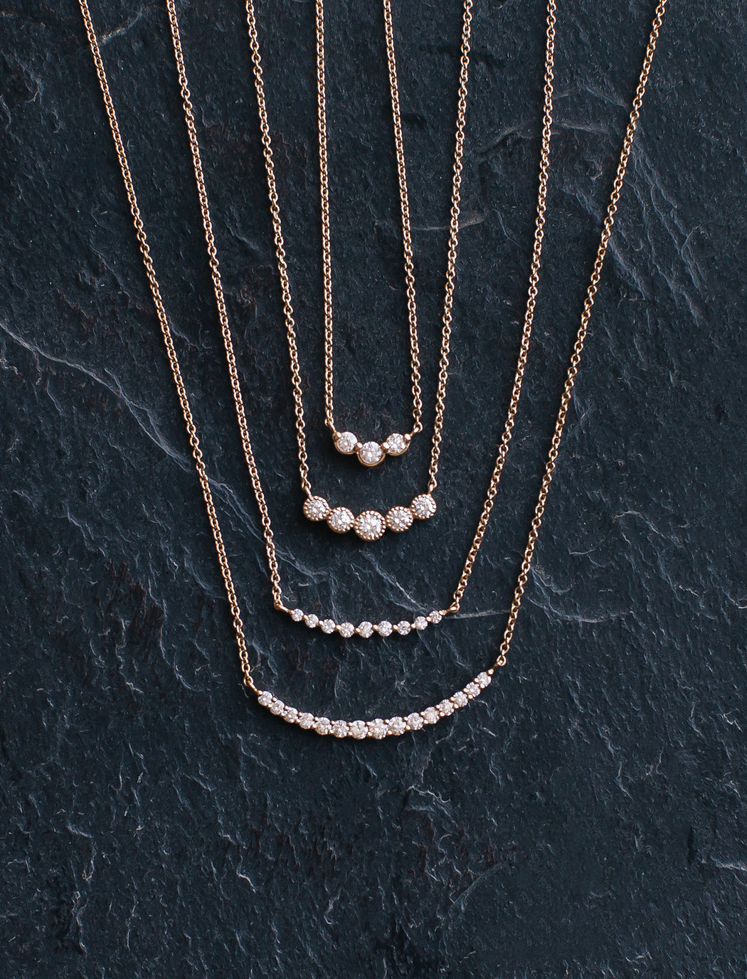 Five Stone Diamond Bezel Necklace