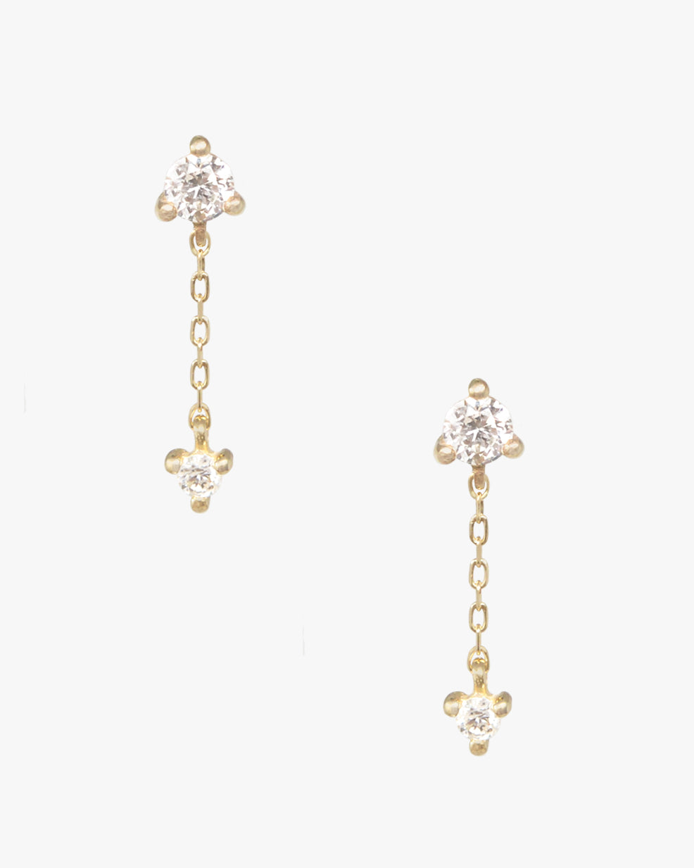 STARLING DOUBLE DIAMOND DROP CHAIN STUD