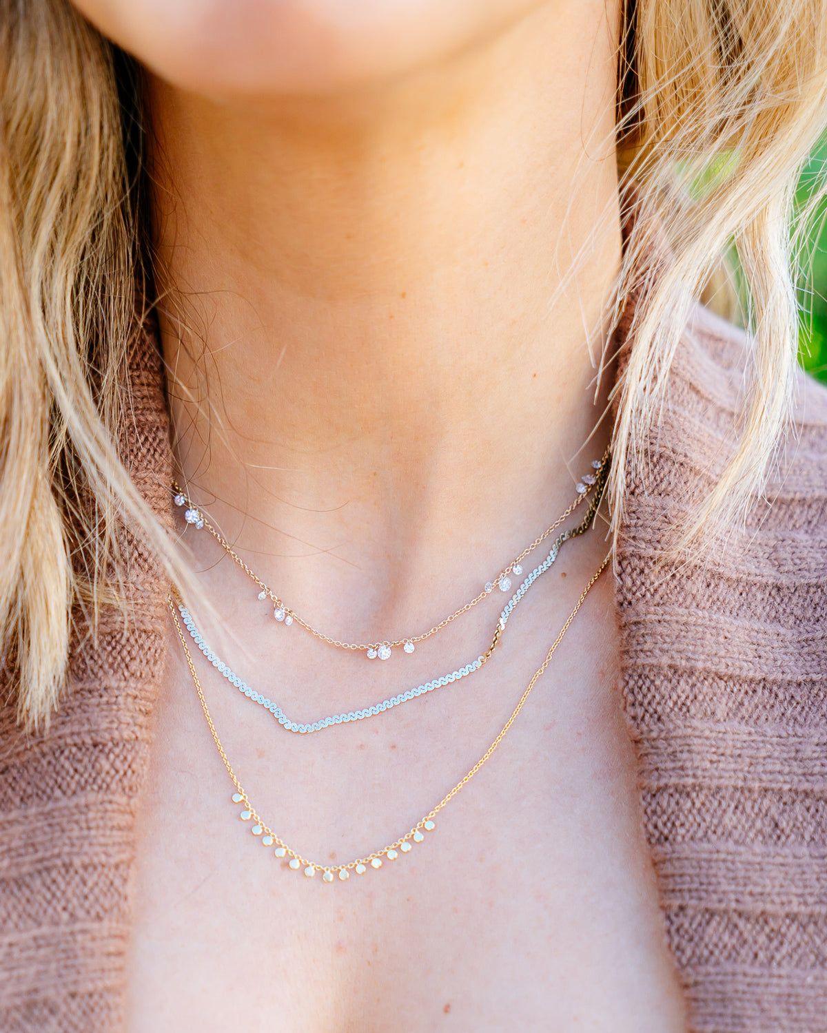 MARIN FLOATING DIAMOND CLUSTER NECKLACE