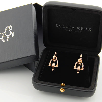 18ct Rose Gold Badminton stirrup earrings in black case