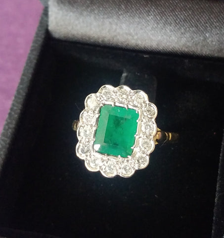 Restored large emerald and diamond ring