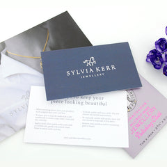 Jewellery care card and complimentary poloshing cloth