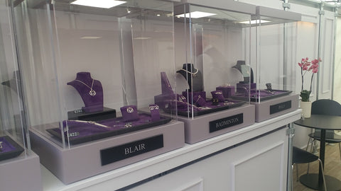 Sylvia Kerr Jewellery's trade stand with cases in our brand colours