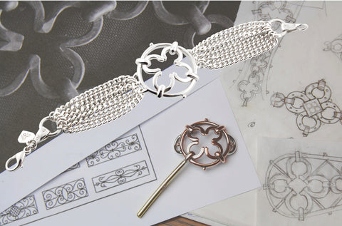 drawing showing the design process of the silver wrought iron inspired bracelet