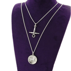 Purple display bust with solid sterling silver  horse coin necklace and fulmer bit necklace