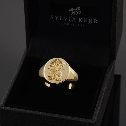 solid 9ct deep seal engraved signet ring