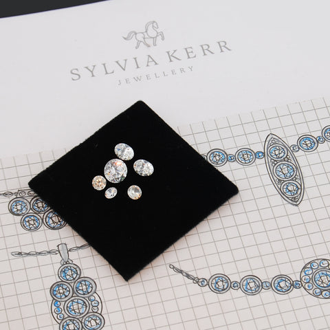 jewellery design drawings and loose fine diamonds