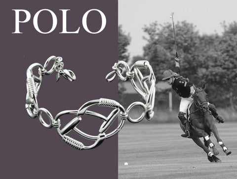 solid silver siognature polo bracelet with girl riding polo pony in the background
