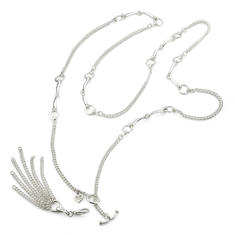 silver equestrian styled horsebit neclace with removable chain tassel on white