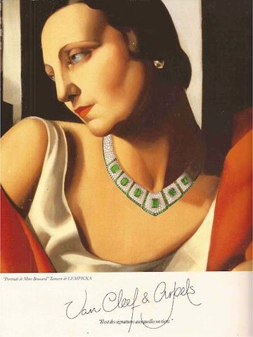Art deco illustration of jewellery  model wearing diamond and emerald necklace