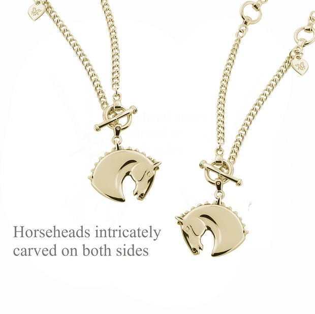 Designer gold horsehead heavy lariat neckchain showing carved detail on both sides