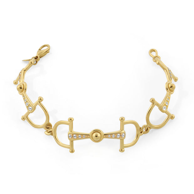 Designer 9ct solid gold and 24 diamond horsebit  bracelet on white background.
