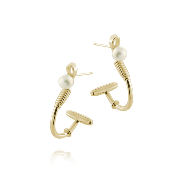 Designer solid 9ct  gold and cultured pearl polo hoop earrings inspired by the mallet and ball