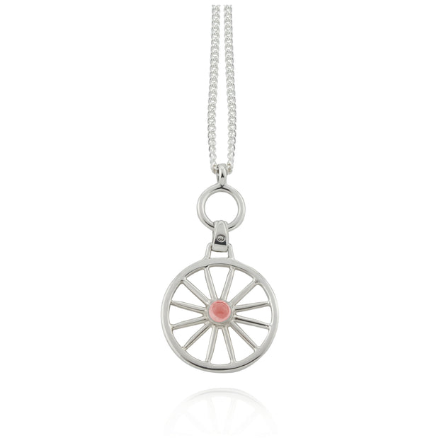 Silver  Carriage Wheel & Gemstone Necklace