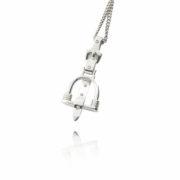 designer solid silver stirrup and leather strap necklace on white background