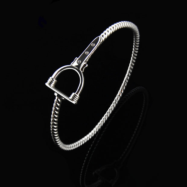 designer solid silver vintage stirrup and strap bangle