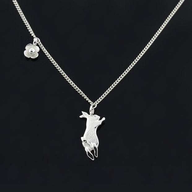 Silver Bunny & Flower Necklace