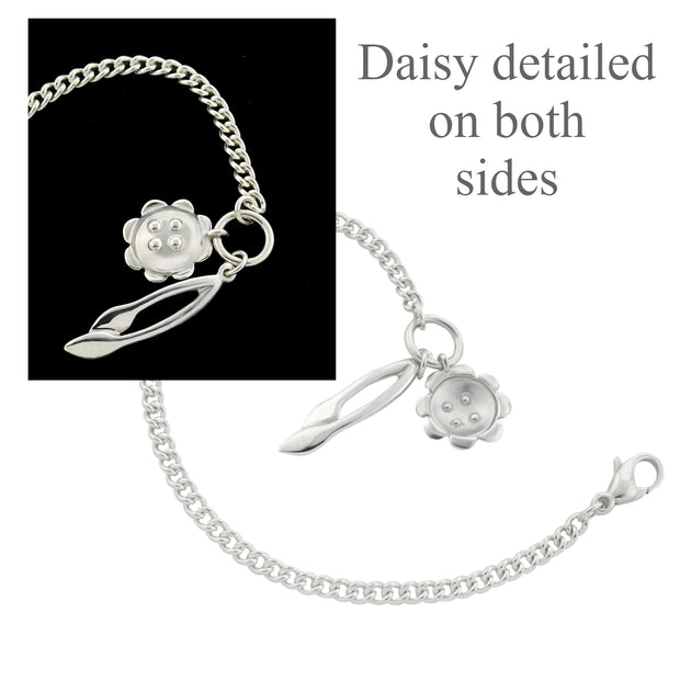 designer solid silver curb chain bracelet with retro daisy and leafstem charms showing fron and back of flower