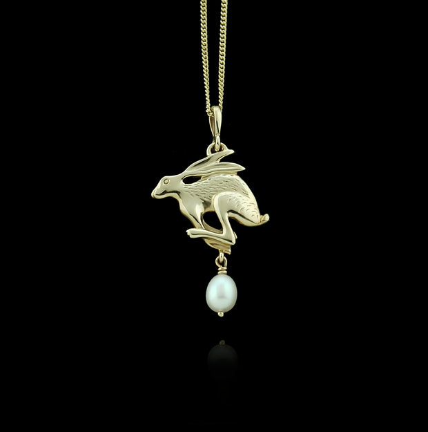 gold carved hare with pearl drop Designer necklace