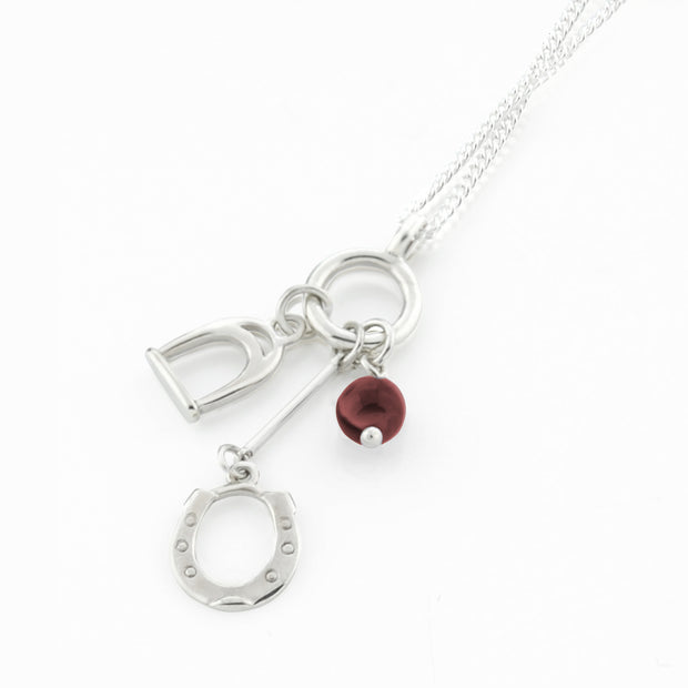 Silver Horseshoe, Stirrup &  Gemstone  Necklace