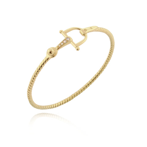 solid gold and diamond equestrian styled bangle