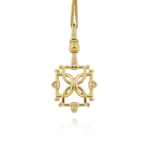 solid gold and diamond, horsebits in a square necklace