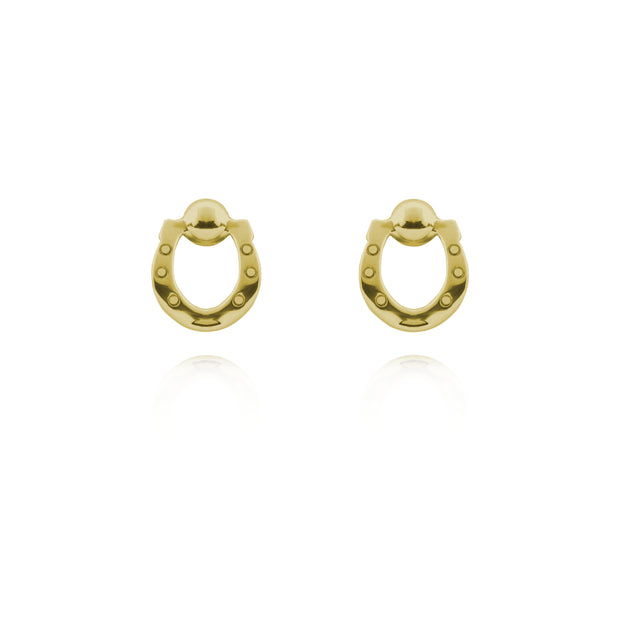 Designer solid 9ct gold horseshoe stud earrings on white background.