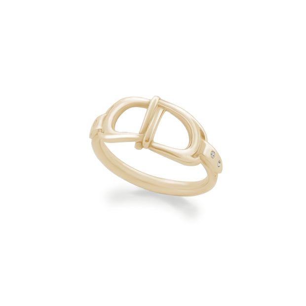 designer gold and diamond interlacing stirrup ring