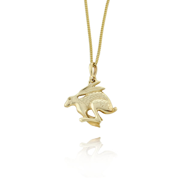designer gold carved Hare necklace