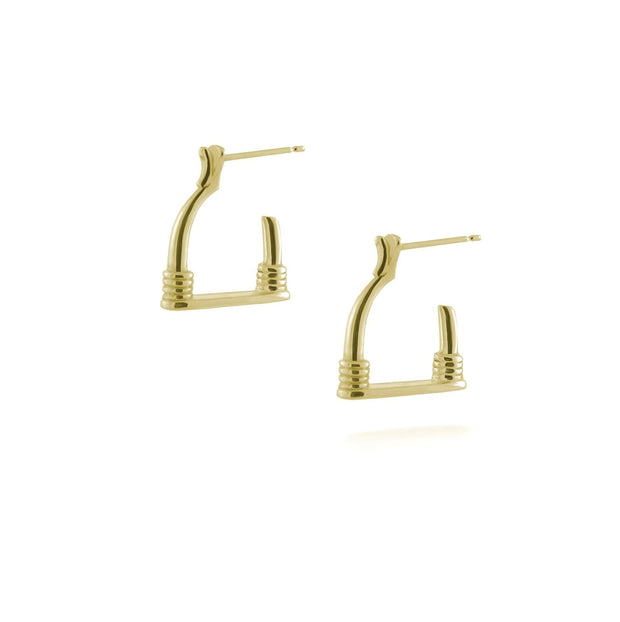 designer 9ct gold vintage stirrup inspired hoop Badminton earrings on white