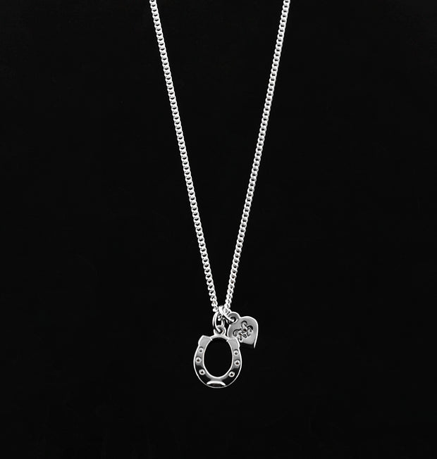 designer silver horseshoe and heart charm necklace