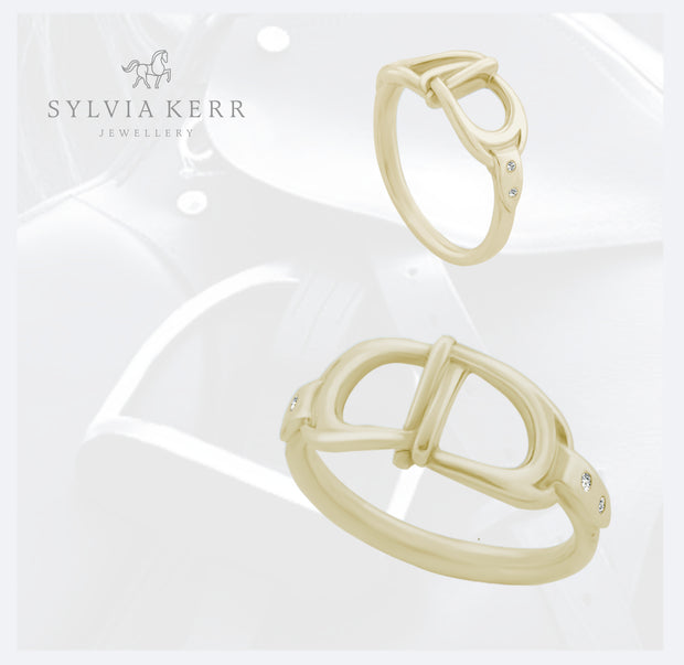 Gold & Diamond Interlacing Stirrup Ring