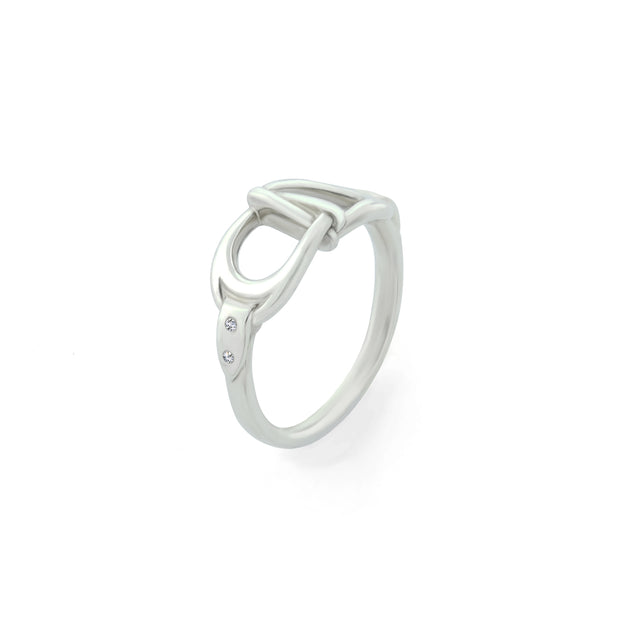designer white  gold and diamond interlacing stirrup ring